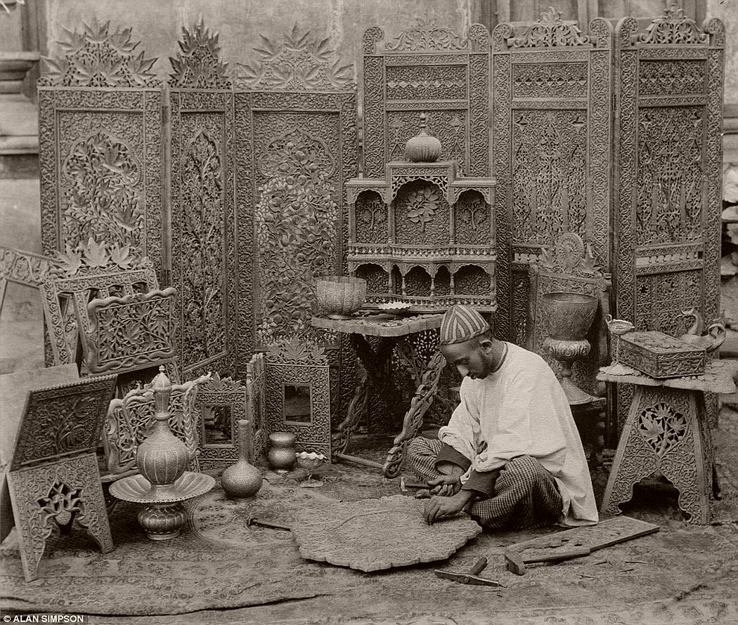 A woodcarver in Kashmir photographed by Fred Bremner in about 1896.