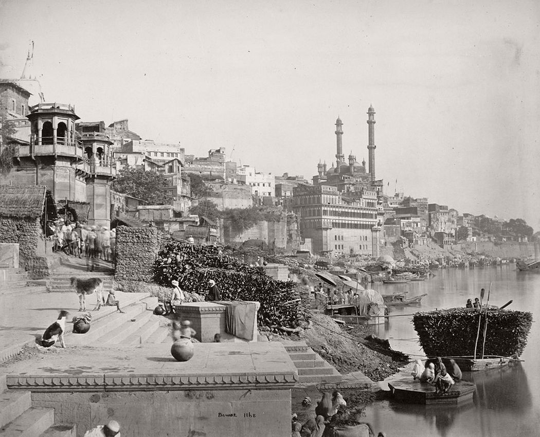 Distant view of the great mosque of Aurungzebe and adjoining Ghats Benares by Samuel Bourne, 1865