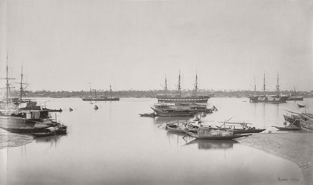 Shipping from Hastings Bridge (Calcutta), ship 'Bombay' & S.S. 'Mauritius, 1865.