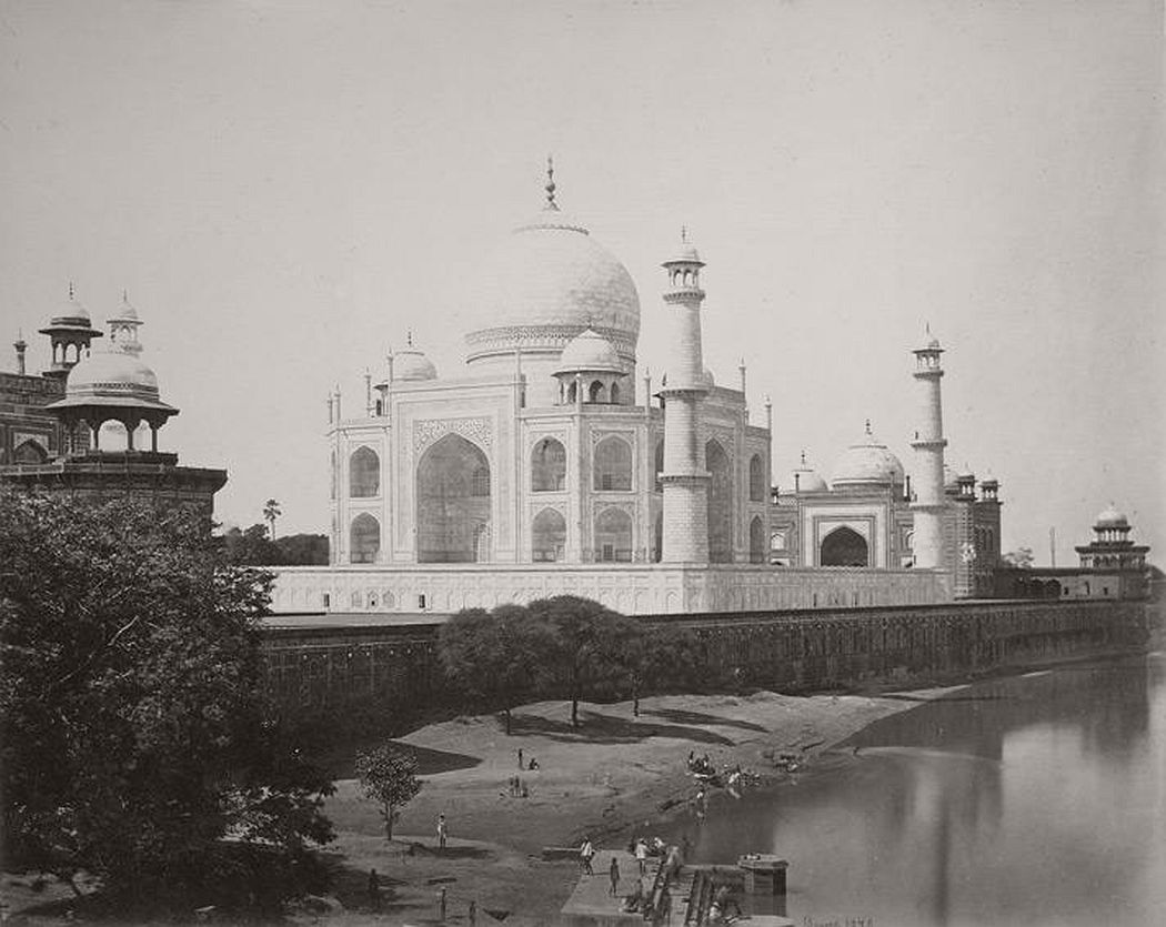 Photograph of the Taj Mahal from the river, Agra, taken by Samuel Bourne in the 1860s.