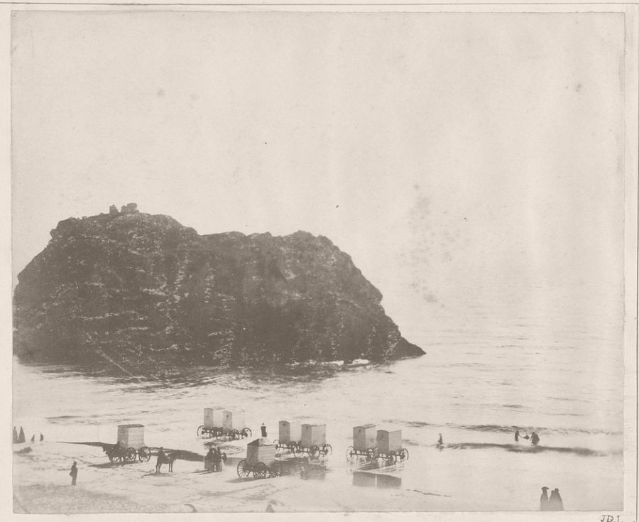 Bathing on the South Sands, Tenby, 1855