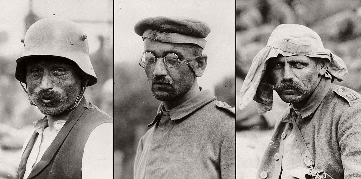 German prisoners, during World War I. Portraits of a German prisoners taken by an official British photographer, to be shown to folks back home. # National Library of Scotland