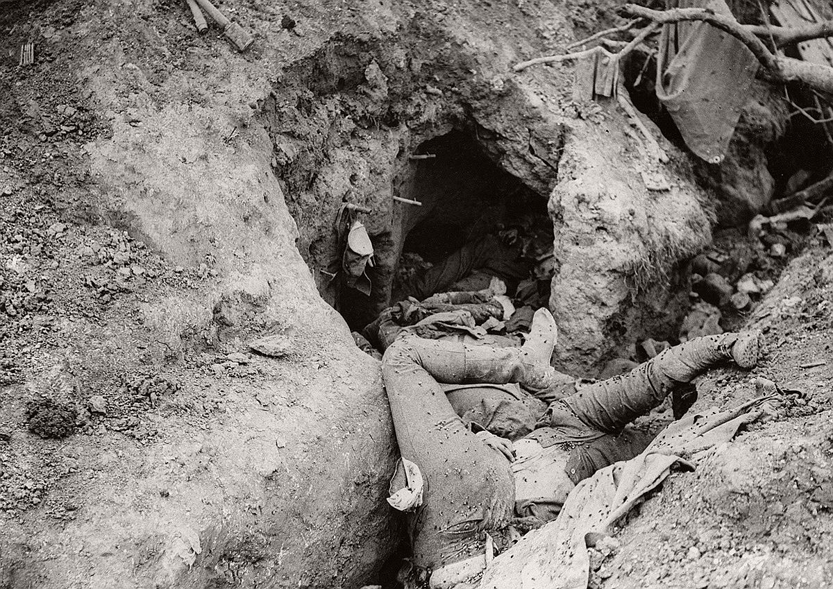 Thiepval, September 1916. Bodies of German soldiers strewn across the bottom of a trench. # National World War I Museum, Kansas City, Missouri, USA