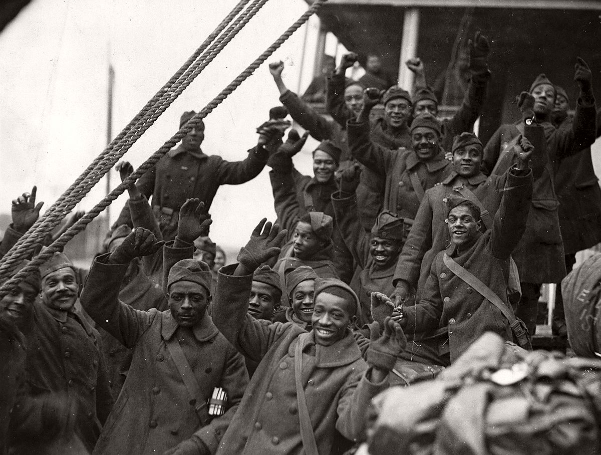 The Famous 369th Arrive in New York City ca. 1919. Members of the 369th [African American] Infantry, formerly 15th New York Regulars. # U.S. National Archives