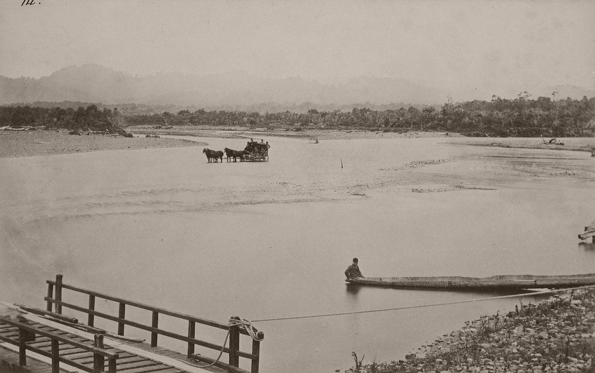 Fording place, Manawatu River, 1870s.