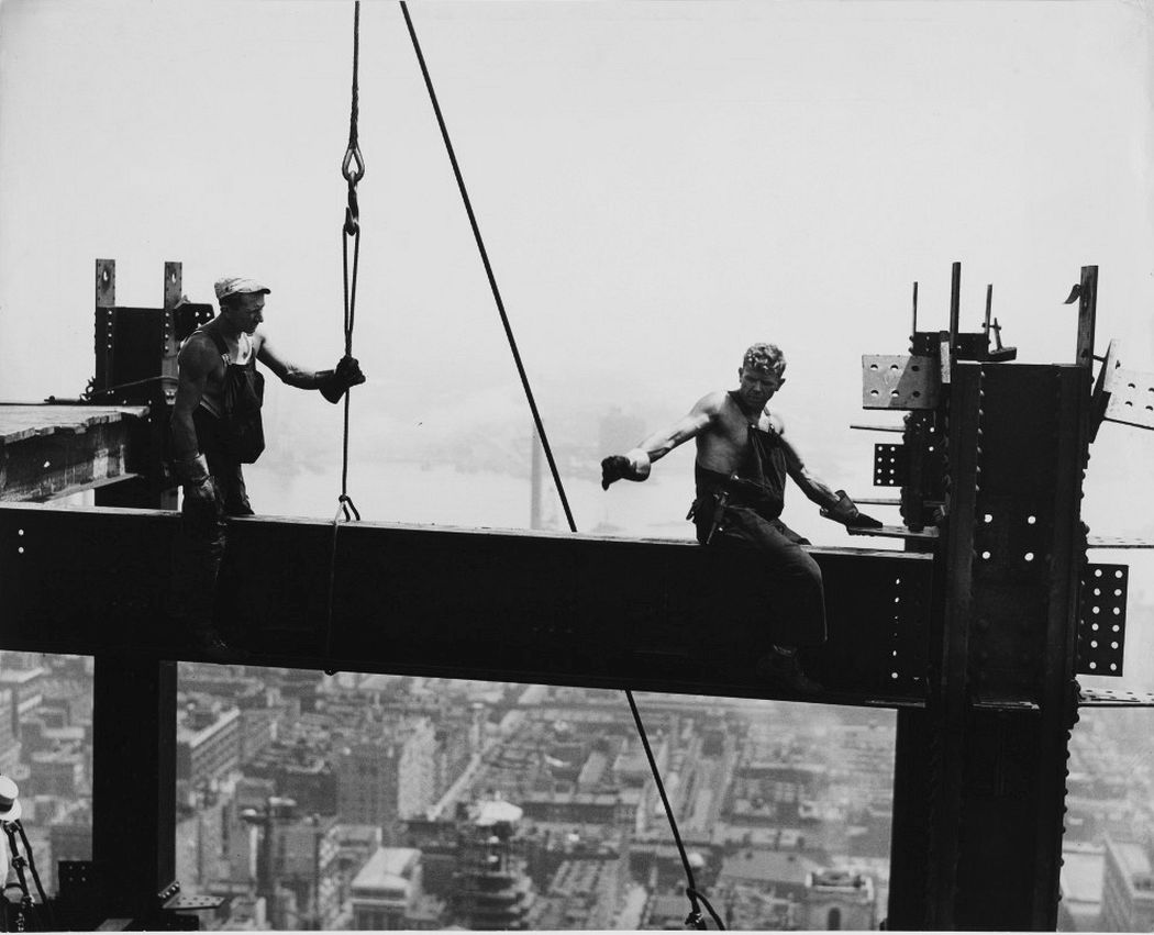Two Connectors on a Girder, Empire State Building, 1930, gelatin silver print. Collection of Michael Mattis and Judith Hochberg, courtesy of art2art Circulating Exhibitions