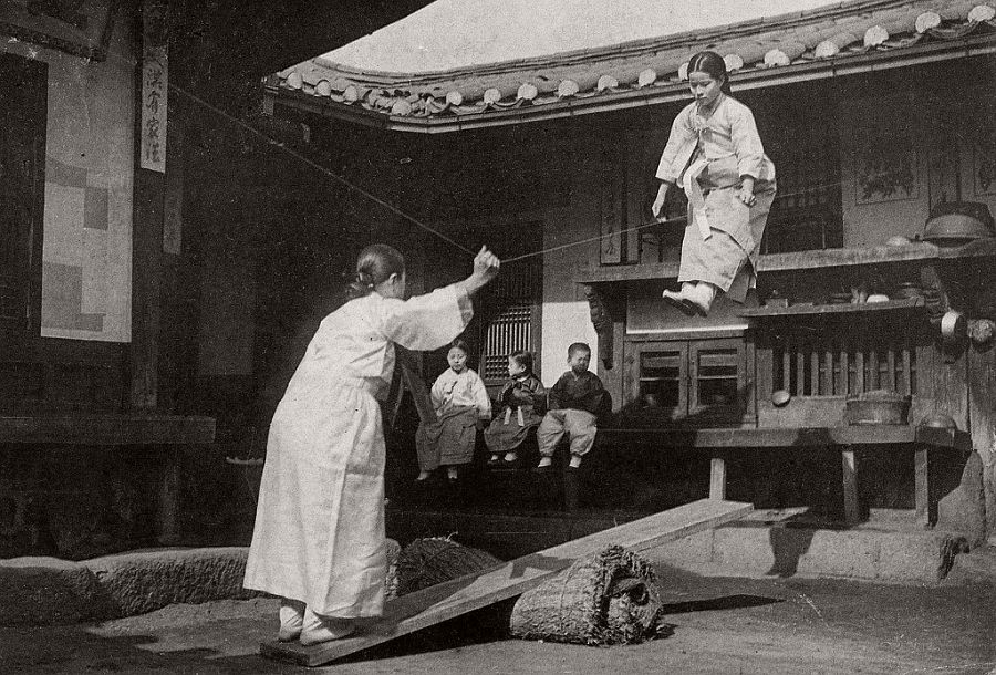 The flying see-saw Korean girls, ca. 1900-05