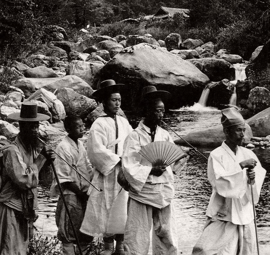 High class dandies on a nature hike, Seoul, ca. 1900