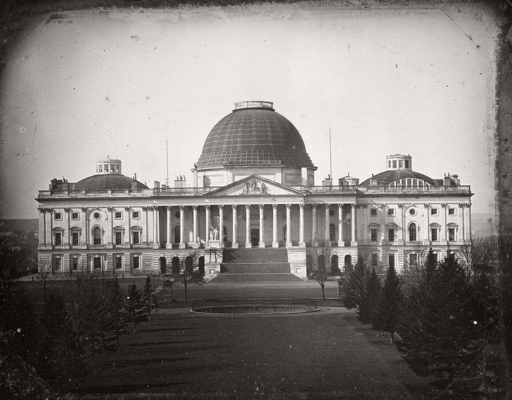 The US Capitol building, still with the old copper dome, 1846