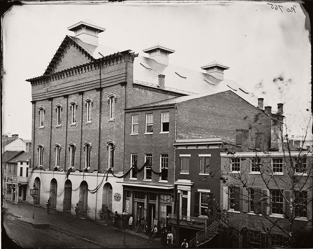 Ford's Theatre, draped in mourning after Lincoln's assassination, 1865
