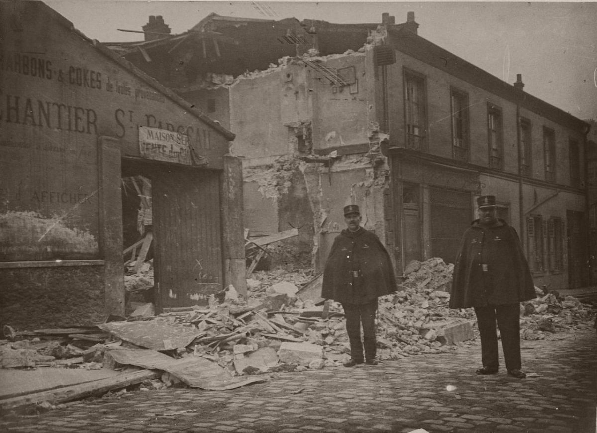 1916. Haxo Street. The damage caused by the bombs of the German airships.