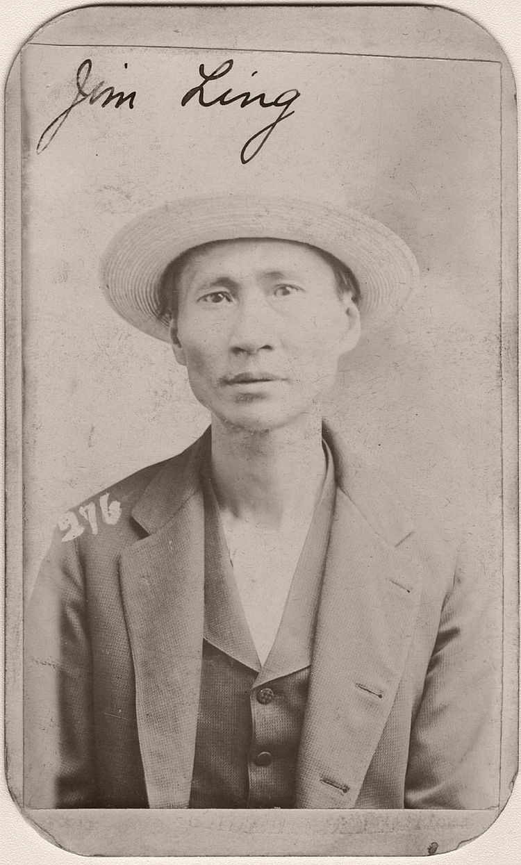 Omaha police arrested Jim Ling for operating an opium joint on June 3, 1898. The back of his mug shot lists his occupation as thief. Ling was described as 5 feet, 6 inches tall and weighing 104 pounds with black hair and hazel eyes.