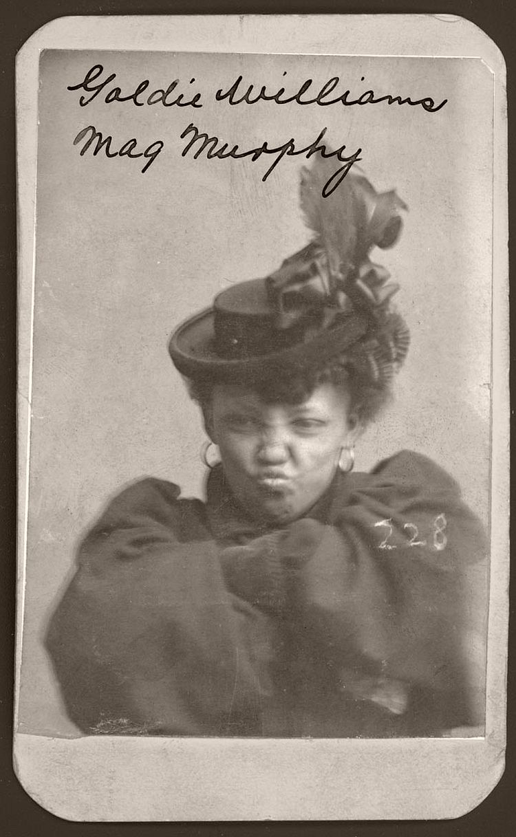 Goldie Williams defiantly crossed her arms for her Omaha Police Court Mug Shot. Arrested on January 29, 1898, Williams, also known as Meg Murphy, stood only 5 feet tall and weighed 110 pounds according to police records. She listed her home as Chicago and her occupation as a prostitute. According to her arrest descriptions, her left index finger was broken and she had a cut below her right wrist. Williams sports an elaborate hat with satin ribbons and feathers. She also wears large hoop earrings.