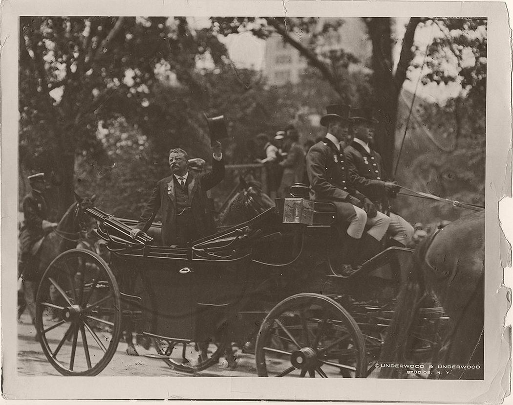 Former President Theodore Roosevelt Riding in a Carriage along Fifth Ave, in New York City. June 18, 1910.
