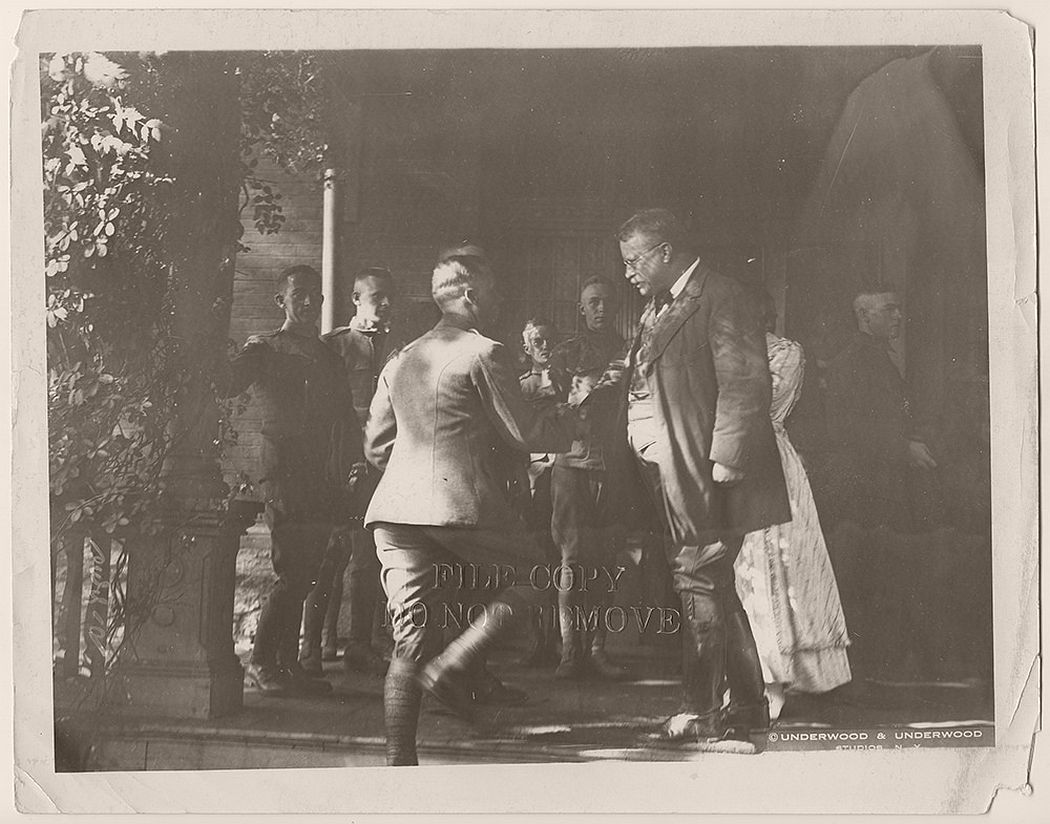 Colonel Theodore Roosevelt greeting soldiers soon deploying to France at Sagamore Hill, ca. 1917-1918.