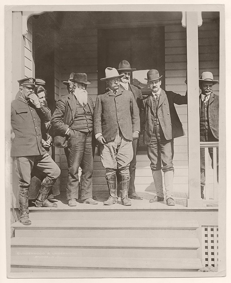 The President with Mr. Burroughs and Secretary Loeb, just before entering Yellowstone National Park, April 1903.
