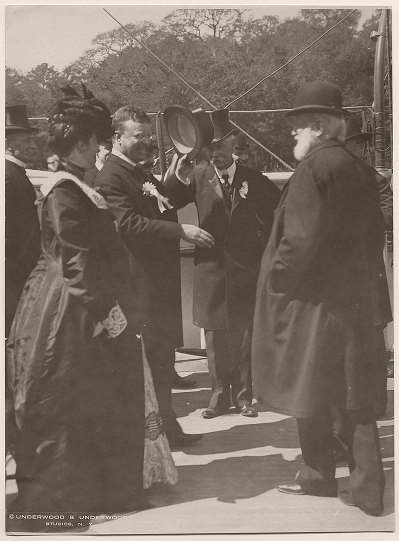 President Theodore Roosevelt Greeting Dignitaries on the USS Algonquin, Charleston, South Carolina. April 8, 1902.