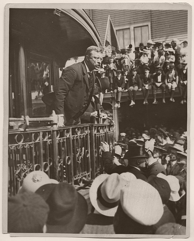 On August 26, 1902, President Theodore Roosevelt delivered a speech from a railcar in Biddeford, Maine.