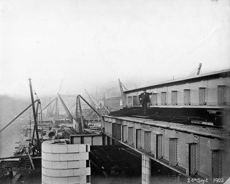View from Clyde Place, Glasgow of the Central Station Bridge during construction, September 1902 (completed 1905). This was built for the Caledonian Railway Company to their design as part of the reconstruction of the Station.