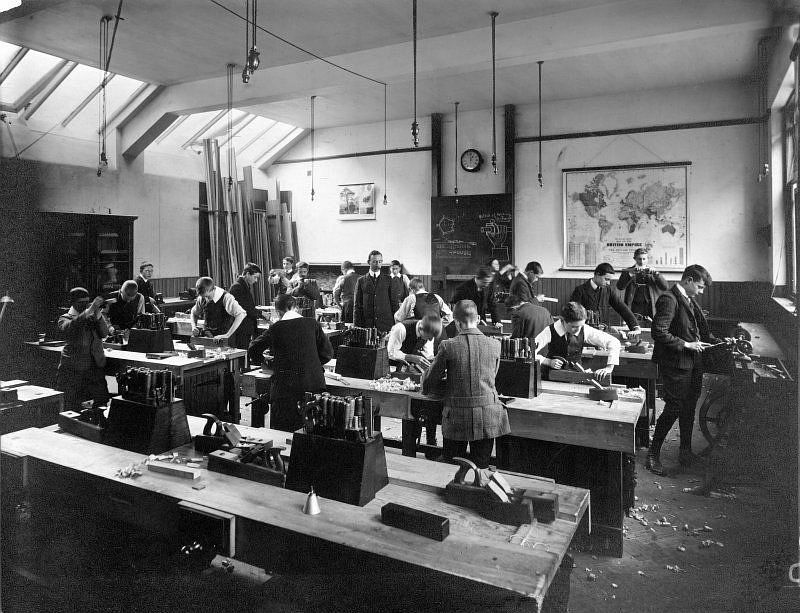 Male pupils in a woodwork class at unidentified school run by the Edinburgh Merchant Company, c. 1910.