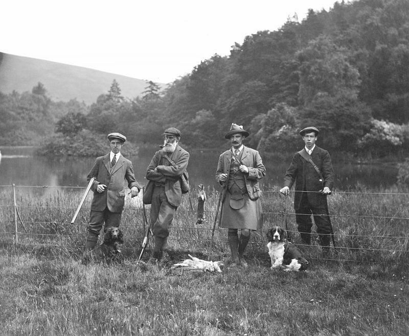 A hunting party on The Glen estate, c.1907.