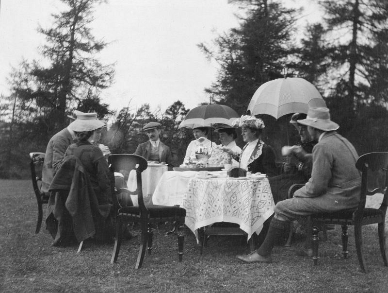 Teaparty in unidentified garden (probably Achernack,Strathdon), c. 1906.