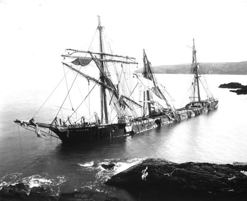 The Bay of Panama, Nare Point, Near Falmouth 1891, ran ashore in the Great Blizzard of 1891.