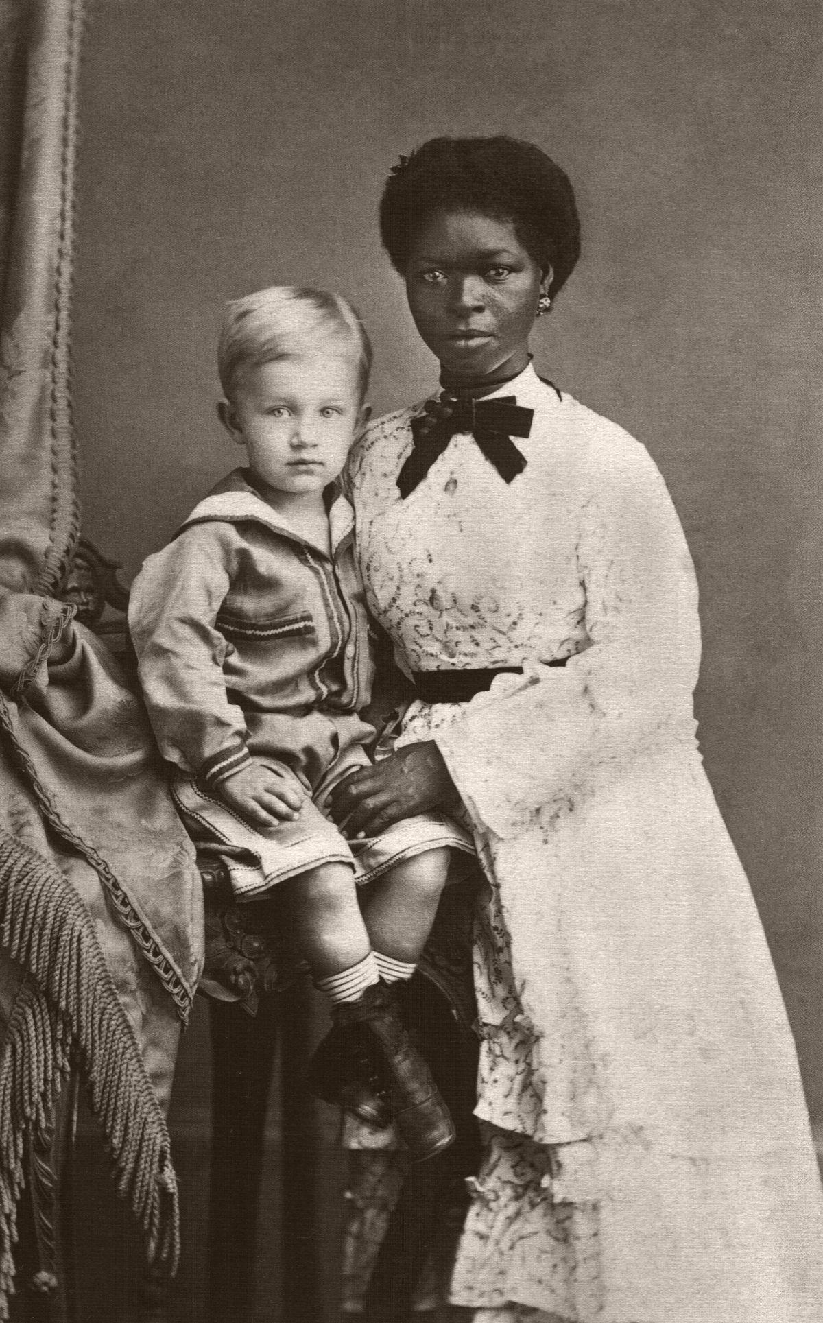 Eugen Keller and his nanny in Pernambuco, Brazil. 1874
