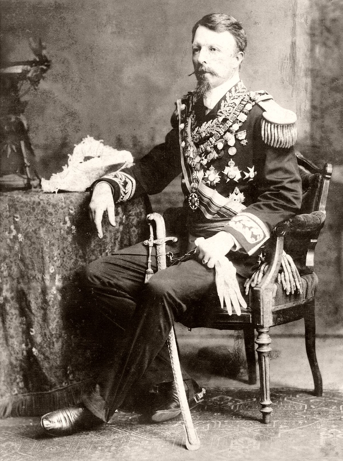 Prince Gaston of Orléans, Count of Eu or Dom Gastão de Orleães, Marshal of the Army. 1882