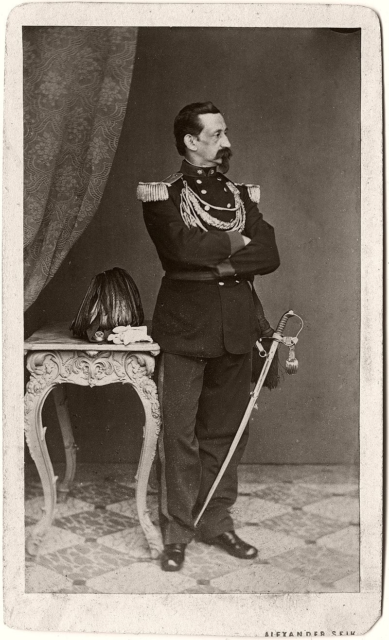 Self portrait of Alexander Seik in sharpshooter uniform, 1869