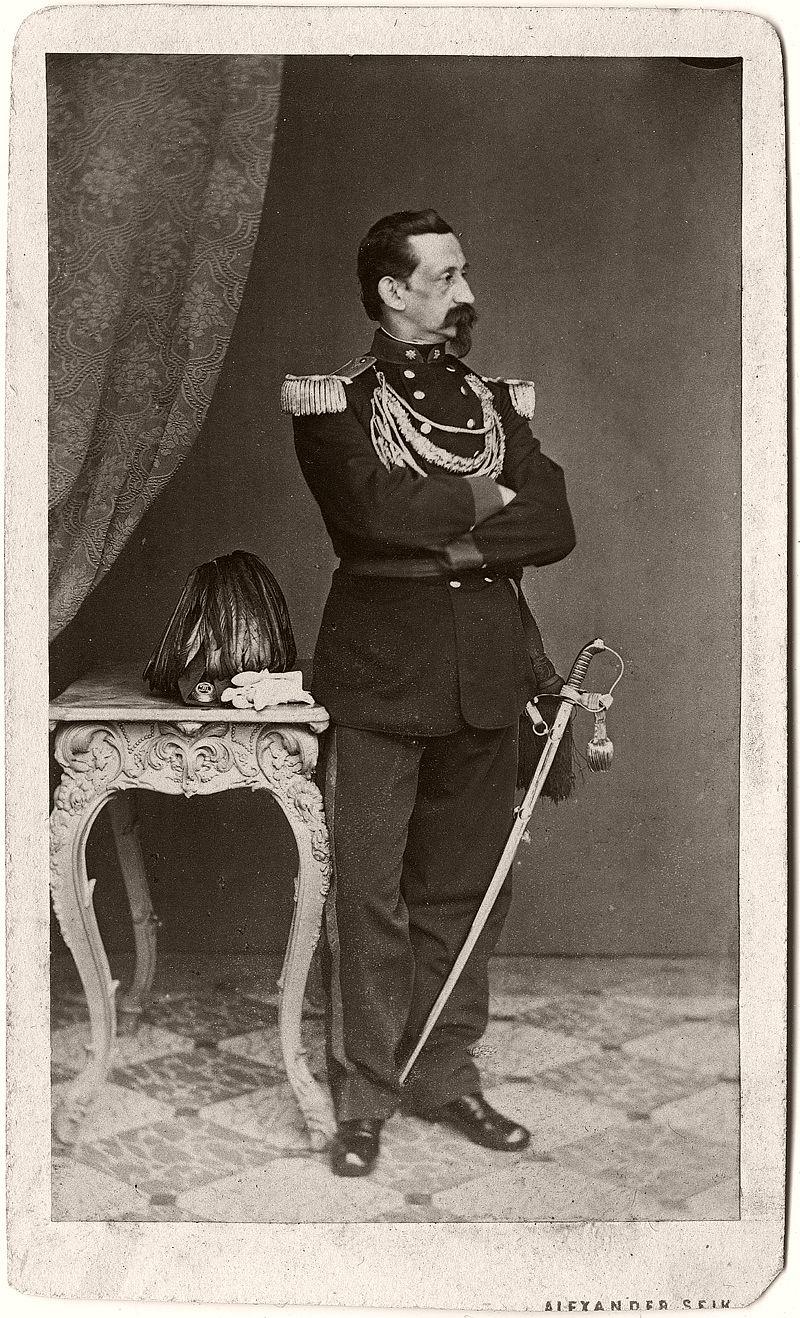 Self portrait of Alexander Seik in sharpshooter uniform, 1869