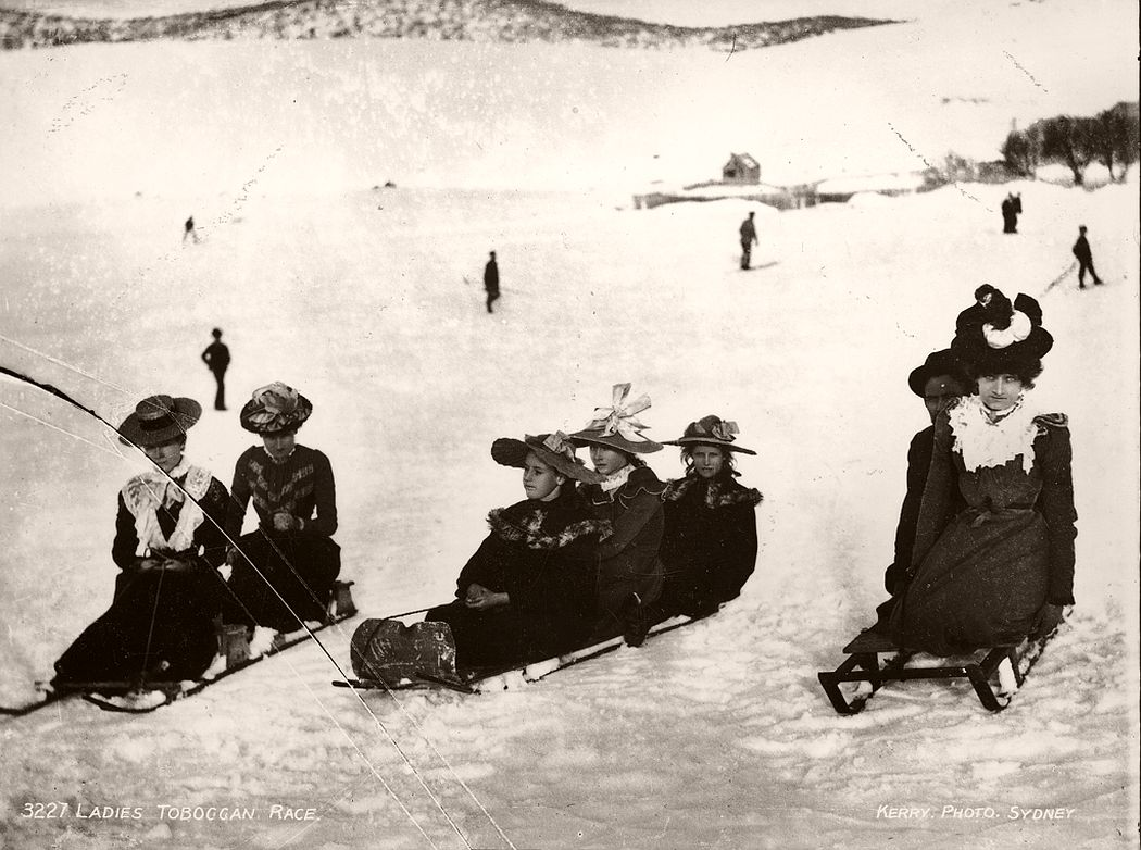 Ladies at Kiandra, NSW, tobogganing.