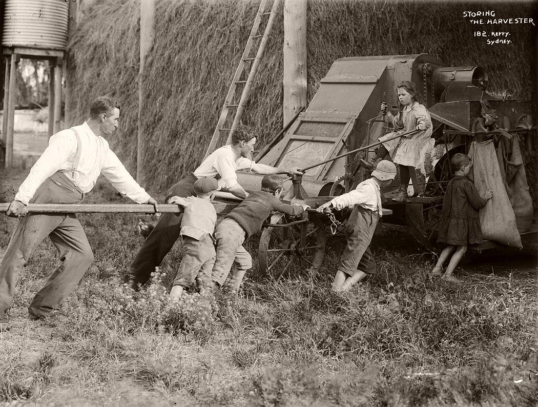 Storing the harvester.