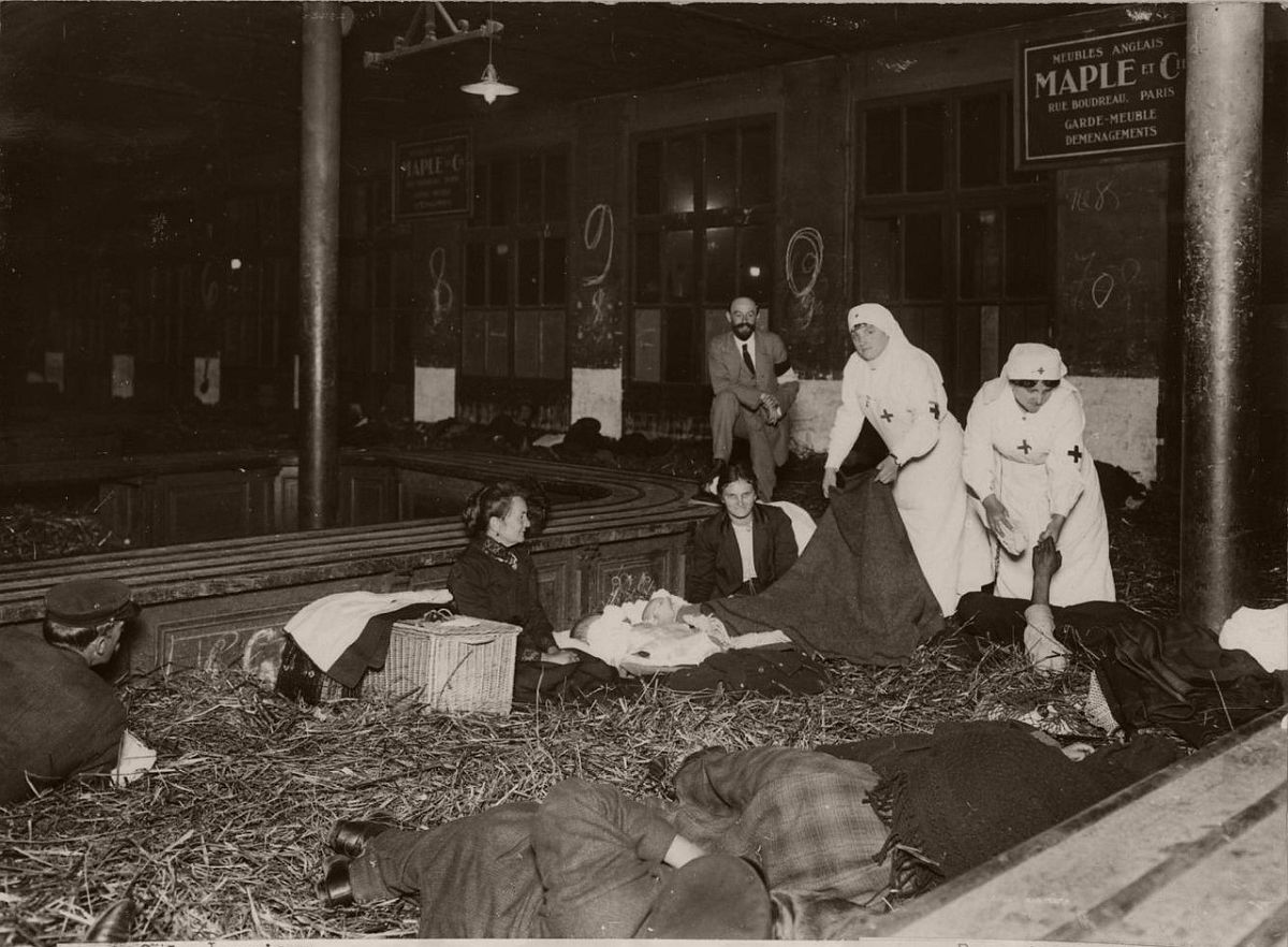 1914. North Station. Room for luggage turned into a hospital ward.