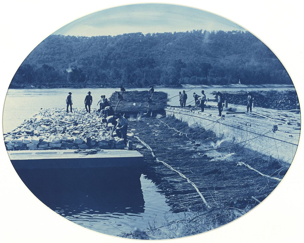 Henry Peter Bosse, Construction of Rock and Brush Dam, L.W., 1891, Cyanotype, 10 7/16 x 13 1/8 inches, National Gallery of Art, Washington, Gift of Mary and Dan Solomon