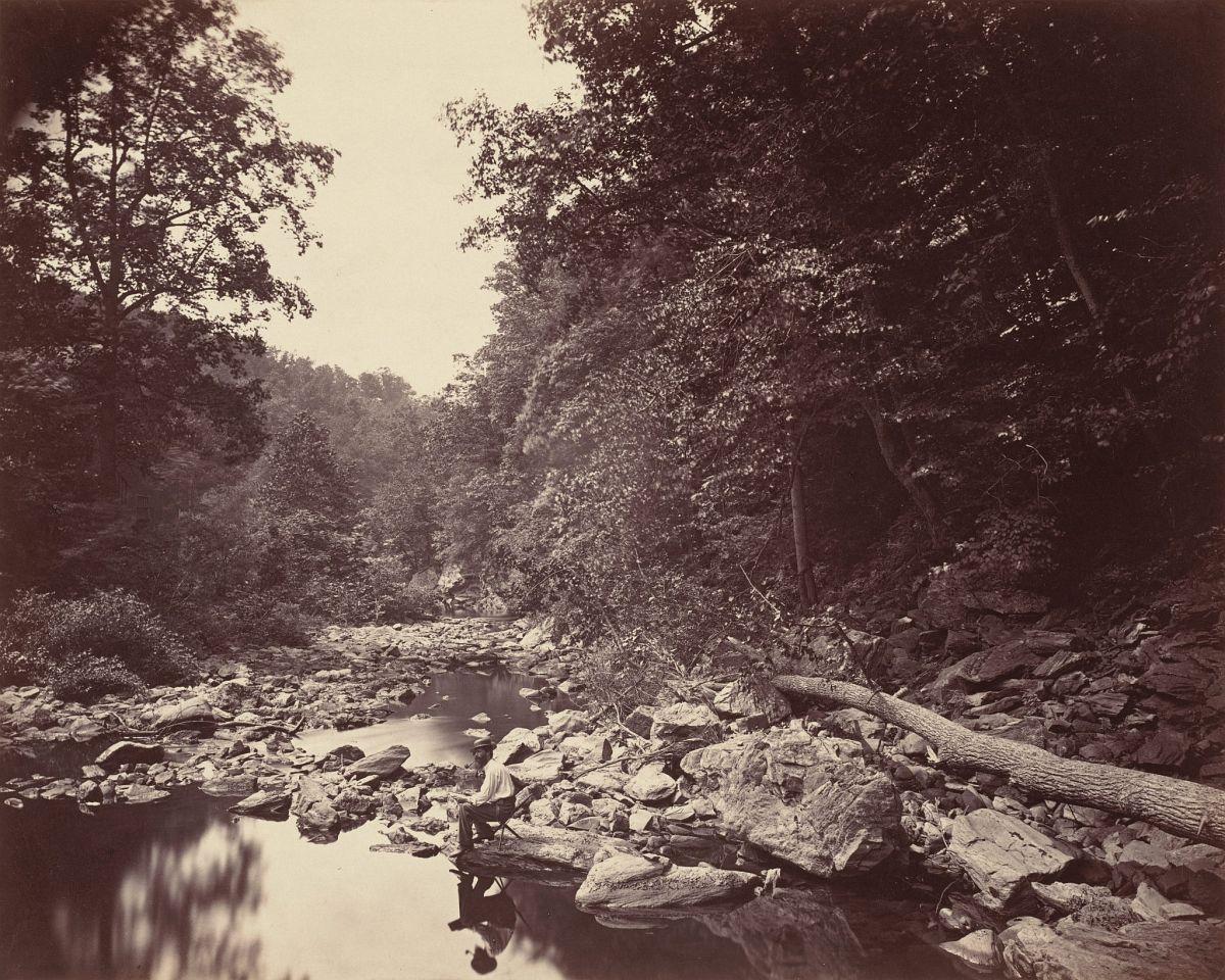 John Moran, The Wissahickon Creek near Philadelphia, c. 1863, Albumen print, 10 3/8 x 13 inches, National Gallery of Art, Washington, Horace W. Goldsmith Foundation through Robert and Joyce Menschel