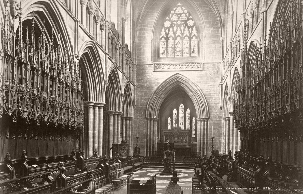 Chester Cathedral, Choir seen from West, between circa 1870 and circa 1880.