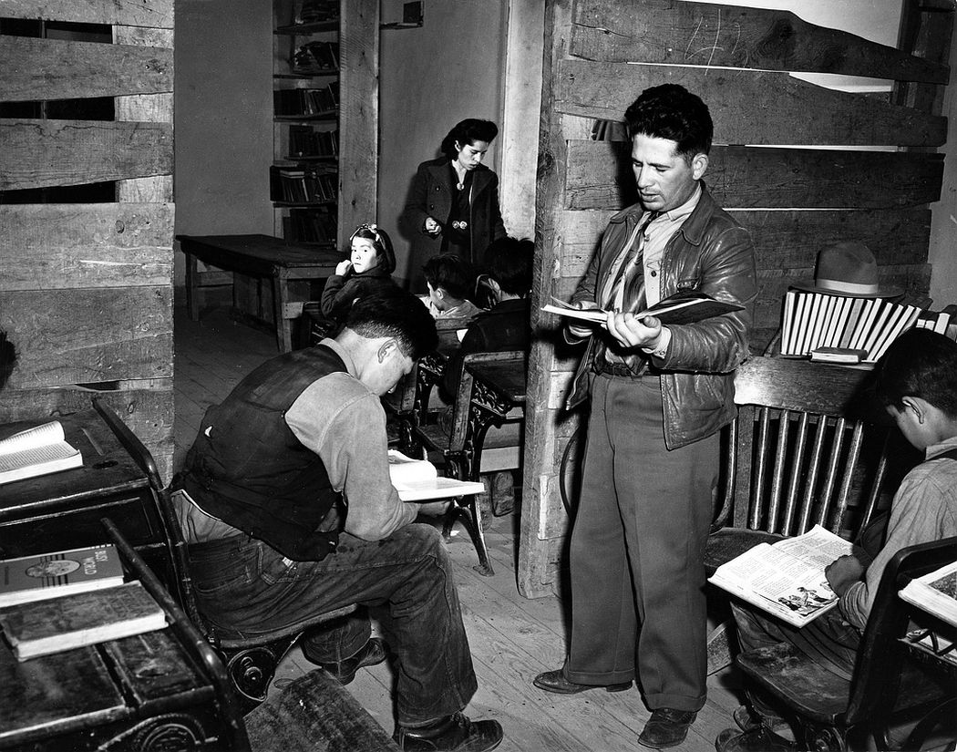 In the one-room school, Ojo Sarco, New Mexico, 1943
