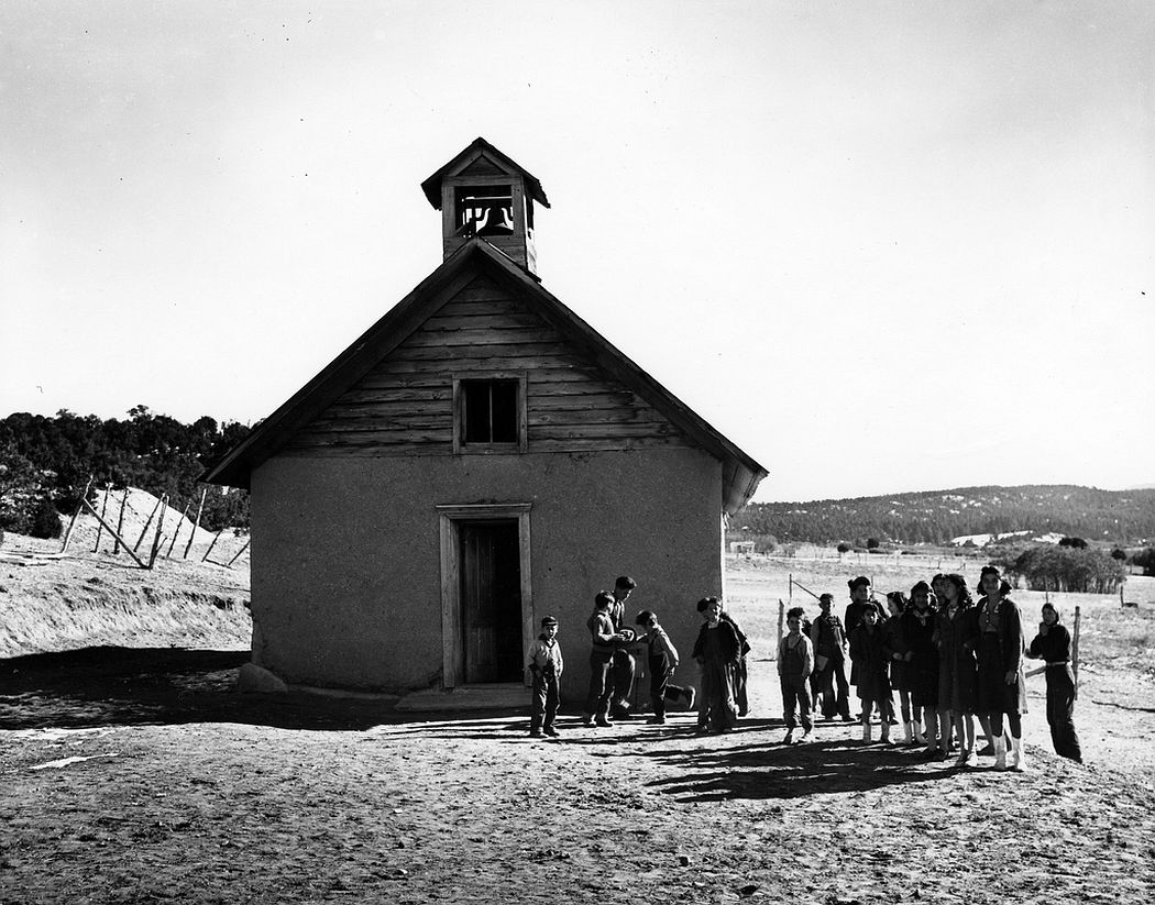 Students in front of one-room school, Ojo Sarco, New Mexico, 1943