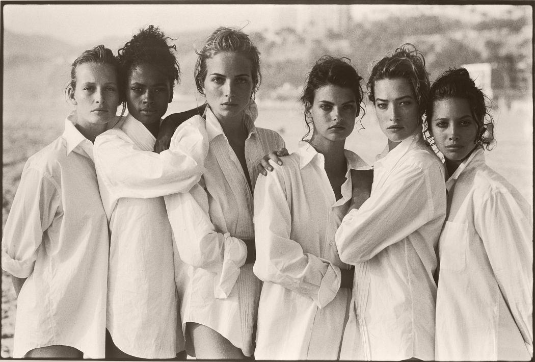Estelle Lefebure, Karen Alexander, Rachel Williams, Linda Evangelista, Tatjana Patitz, Christy by Peter Lindbergh, 1988