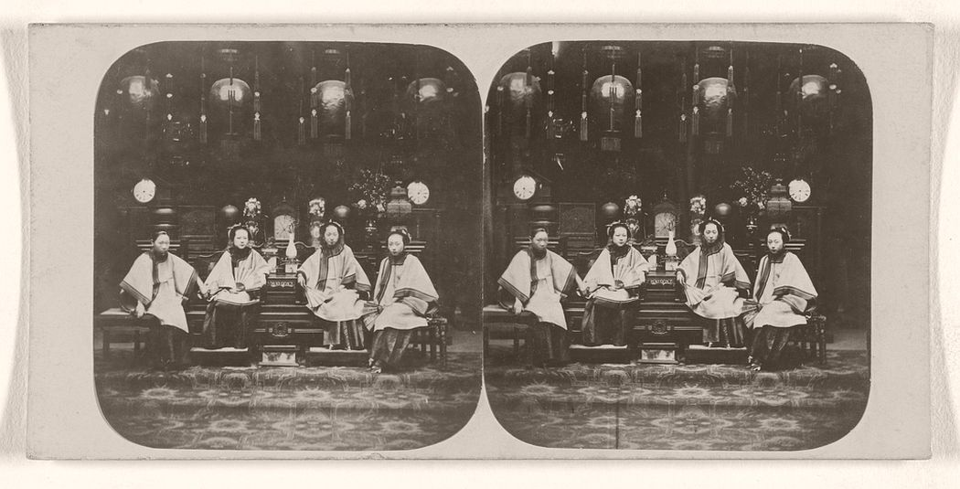 Chinese Ladies, Forming Part of the Establishment of a Mandarin of the First Class or Blue Button. Canton, China.