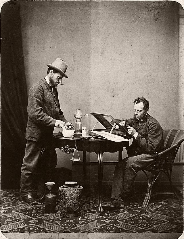 The double self portrait of Ignác Šechtl as laboratory worker and chemician, double exposition on single wet collodion plate, approx. 1870.
