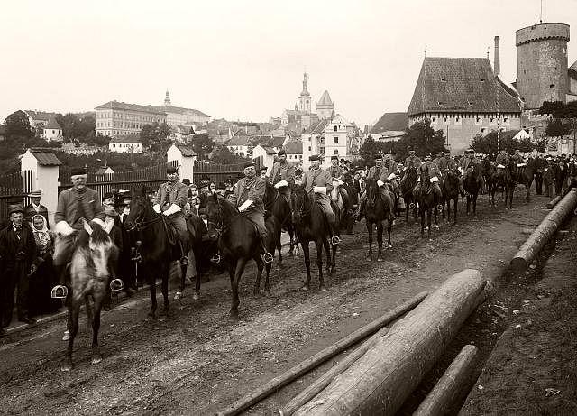 Sokol parrade in the front of Kotnov castle, Tábor, Czech Republic, 1902.