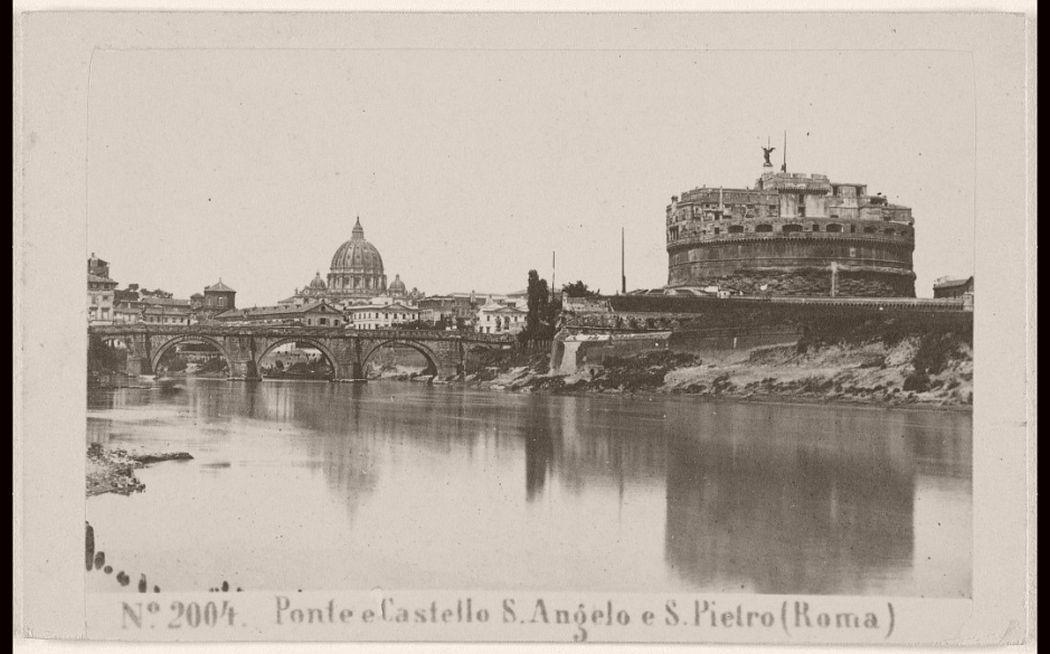 Ponte e Castello S. Angelo e S. Pietro (Roma), about 1870.