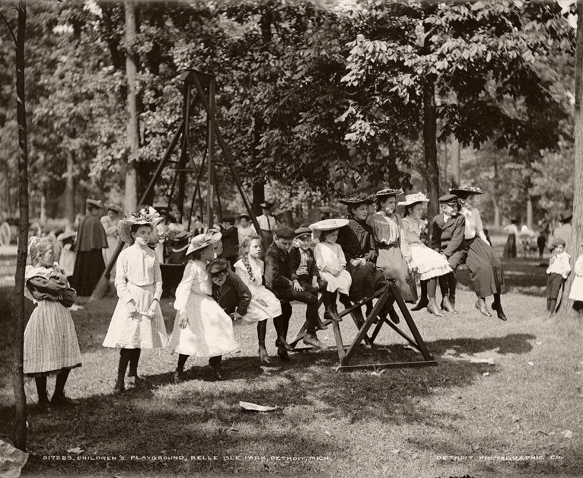 Children's playground, Belle Isle Park, Detroit, Michigan, ca. 1900-1905.