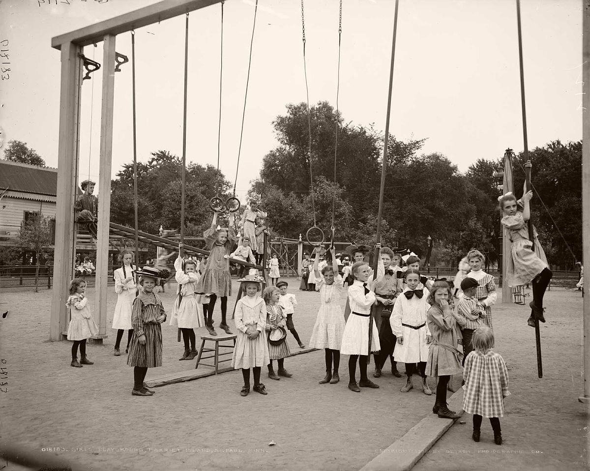 Girls' playground, Harriet Island, St. Paul, Minnesota, 1905.