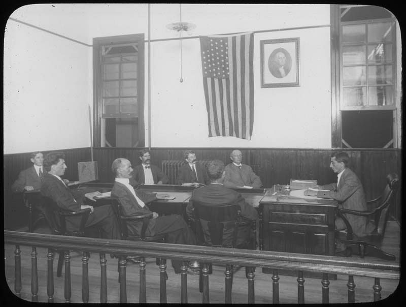 Men in meeting, Woodbine, New Jersey. Digitized by the Gruss Lipper Digital Laboratory at the Center for Jewish History