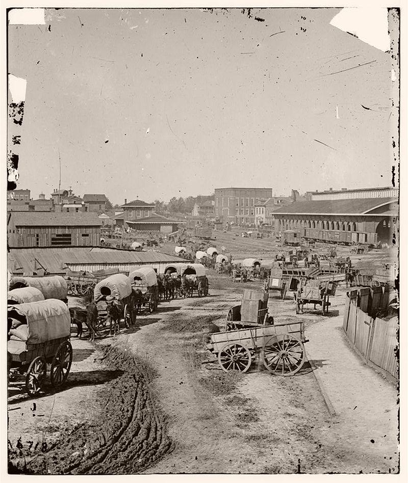 Wagon train leaving Atlanta, Georgia, 1864