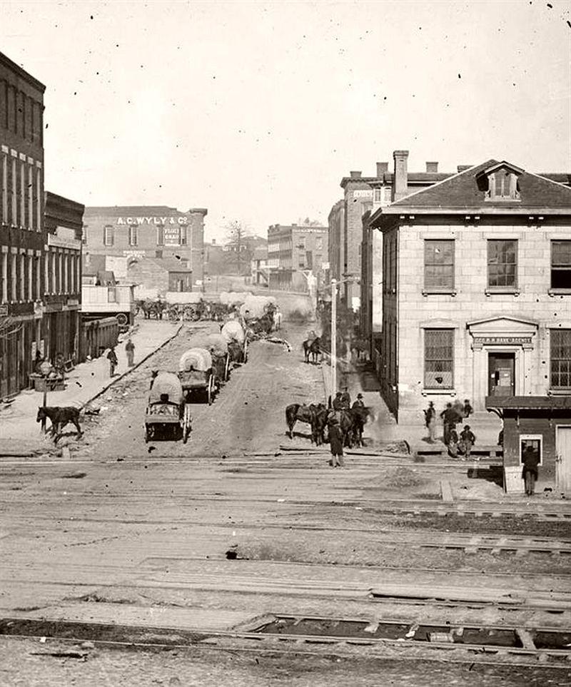Wagon train on Whitehall Street, Atlanta, Georgia, 1864