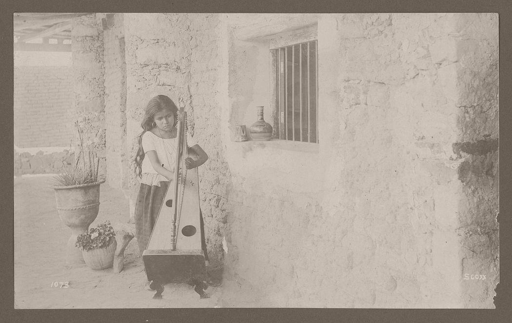 Girl playing harp, 1905